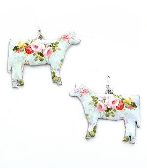 New Arrival :: Floral Print Cow Earrings