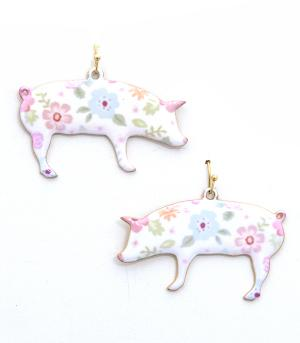 New Arrival :: Floral Pattern Pig Earrings