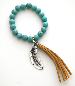 <font color=Turquoise>TURQUOISE JEWELRY</font> :: Feather Turquoise Bracelet