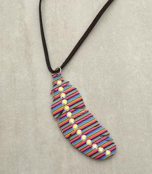 New Arrival :: Rhinestone Serape Feather Necklace Set