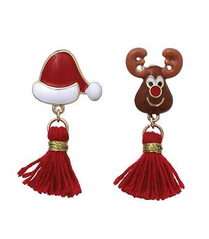<font color=red>SEASONAL</font> :: Reindeer Santa Tassel Earrings