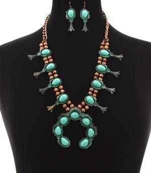 <font color=Turquoise>TURQUOISE JEWELRY</font> :: Trendy Squash Blossom Necklace Set