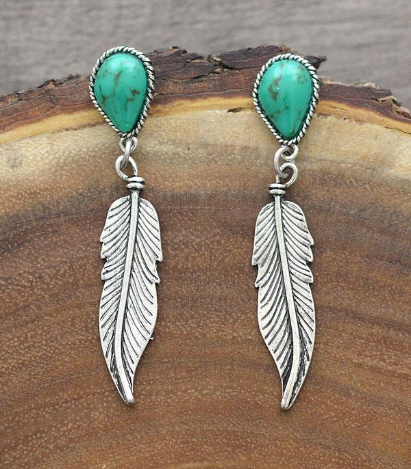 New Arrival :: Wholesale Tipi Western Turquoise Feather Earrings