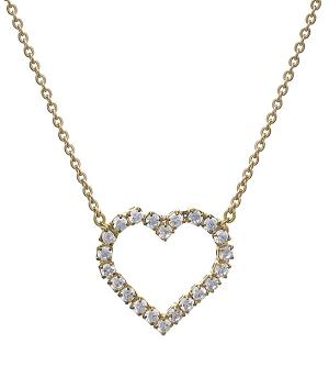 <font color=red>VALENTINE'S</font> :: Cubic Zirconia Heart Necklace