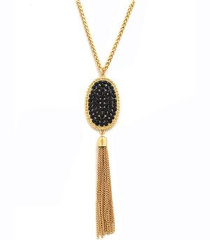 New Arrival :: Rhinestone Tassel Necklace Set