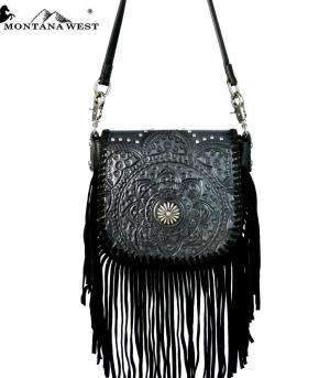New Arrival :: Montana West Real Leather Fringe Crossbody