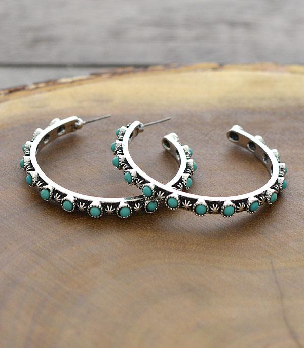 New Arrival :: Wholesale Tipi Turquoise Hoop Earrings