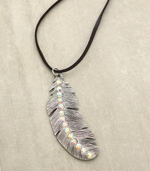 New Arrival :: Rhinestone Feather Necklace Set