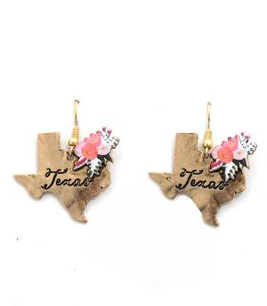 New Arrival :: Floral Texas State Earrings