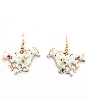 New Arrival :: Floral Horse Earrings