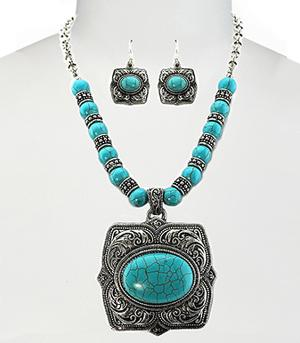 <font color=Turquoise>TURQUOISE JEWELRY</font> :: Stone Concho Necklace Set