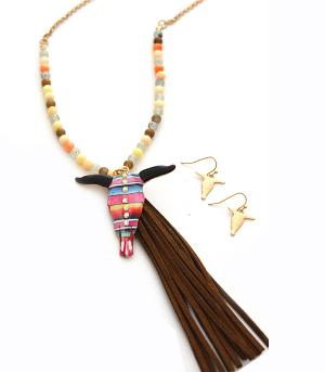 New Arrival :: Serape Steer Head Necklace Set