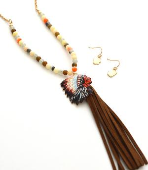 New Arrival :: Chief Head Tassel Accent Necklace Set