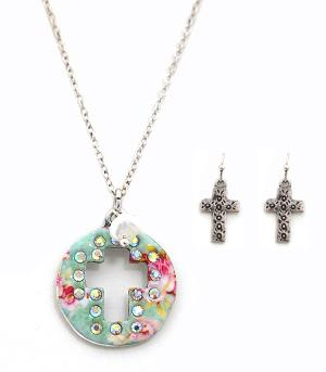 New Arrival :: Floral Cross Cut-Out Necklace Set