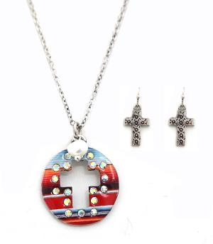 New Arrival :: Serape Cross Cut-Out Necklace Set