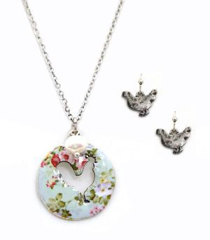 New Arrival :: Floral Rooster Cut-Out Necklace Set