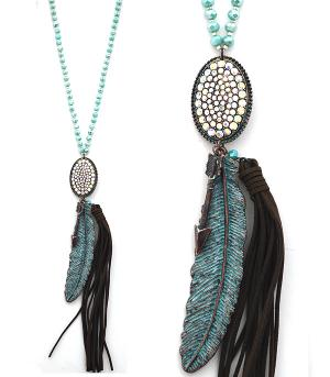 New Arrival :: Trendy Feather Tassel Necklace Set