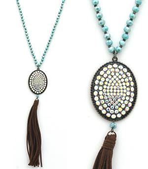 New Arrival :: Rhinestone Concho Tassel Necklace Set