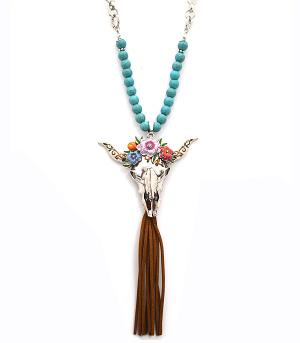 New Arrival :: Floral Steer Head Necklace