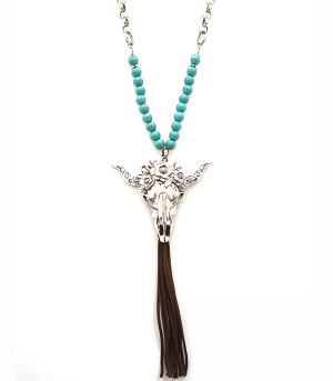 New Arrival :: Steer Head Tassel Necklace