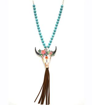 New Arrival :: Aztec Accent Steer Head Necklace