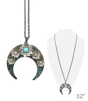 New Arrival :: Floral Crescent Necklace