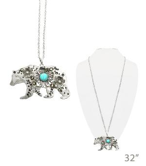 New Arrival :: Floral Bear Necklace