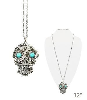 New Arrival :: Floral Sugar Skull Necklace