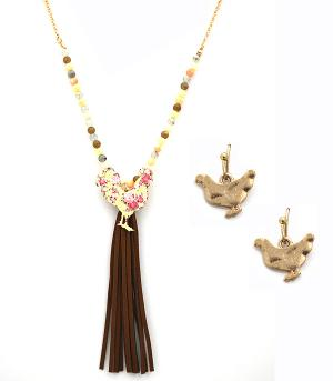 New Arrival :: Floral Rooster Necklace w/Tassel