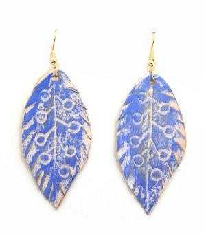 New Arrival :: Leather Leaf Dangle Earrings