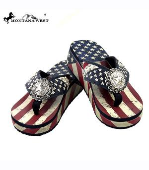 New Arrival :: Montana West American Flag Collection Flip Flops