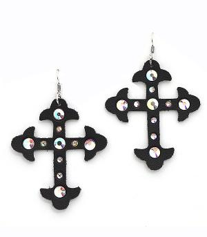New Arrival :: Rhinestone Accent Leather Cross Earrings