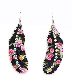New Arrival :: Feather Drop Earrings w/Stones