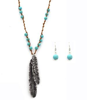 New Arrival :: Knotted Turquoise Accent Feather Necklace Set