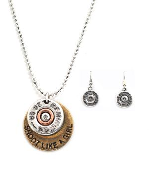 New Arrival :: Shoot Like A Girl Gun Shell Necklace Set