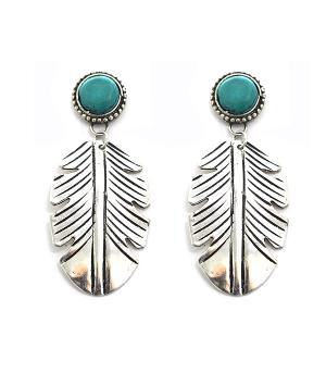 New Arrival :: Turquoise Accent Feather Earrings