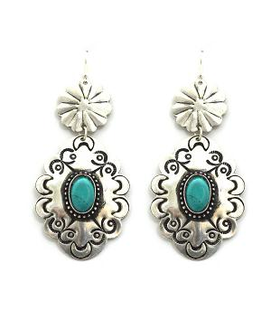 <font color=Turquoise>TURQUOISE JEWELRY</font> :: Turquoise Stone Concho Earrings