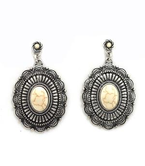 New Arrival :: Stone Accent Concho Earrings