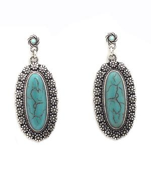 New Arrival :: Floral Stone Accent Dangle Earrings
