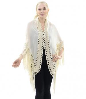 New Arrival :: Crochet Kimono With Lace Trim &  Fringe