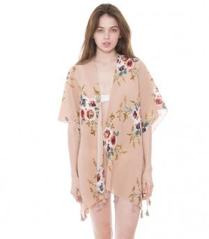 New Arrival :: Floral Print Kimono With Tassels