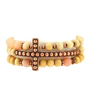 New Arrival :: Stackable Wood Bead Cross Bracelet