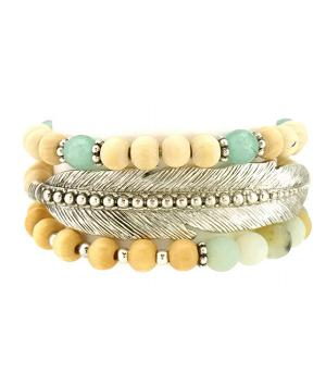 New Arrival :: Stackable Wood Bead Feather Bracelet