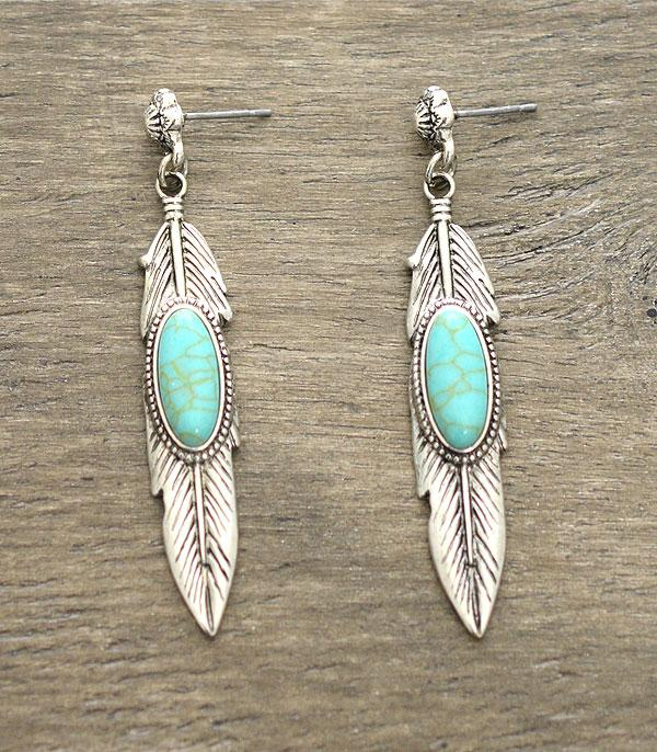 New Arrival :: Feather Turquoise Earrings