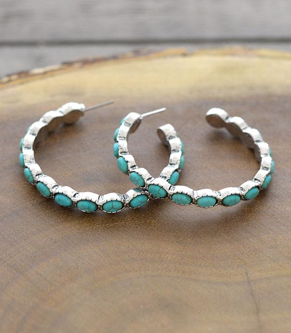 New Arrival :: Wholesale Tipi Western Turquoise Hoop Earrings