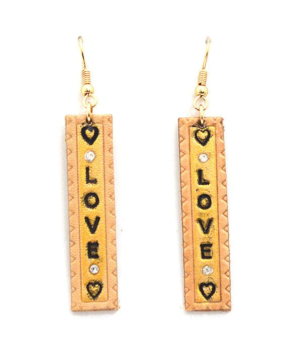 <font color=red>VALENTINE'S</font> :: LOVE Leather Drop Earrings