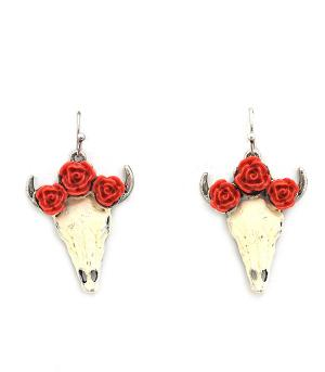 New Arrival :: Rose Steer Head Earrings