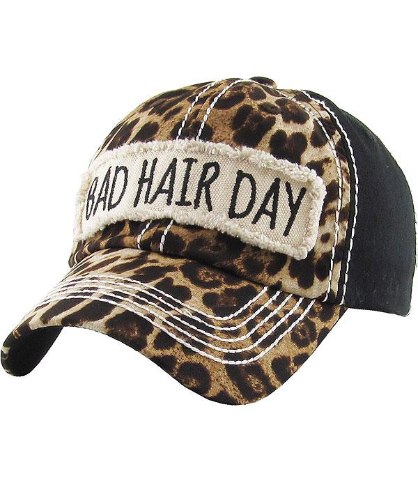 826af64509654 Wholesale Handbag Fashion Jewelry HATS VINTAGE HAT8089BK Bad Hair Day  Leopard Ballcap at YKTrading.com