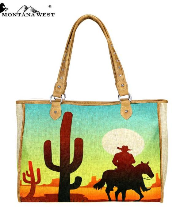 New Arrival :: Montana West Wild West Painted Canvas Tote Bag