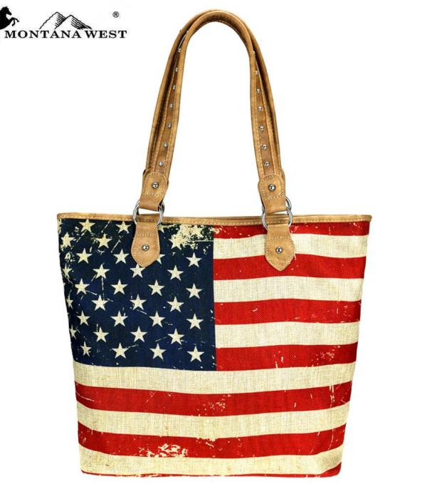New Arrival :: Montana West American Flag Painted Canvas Tote Bag